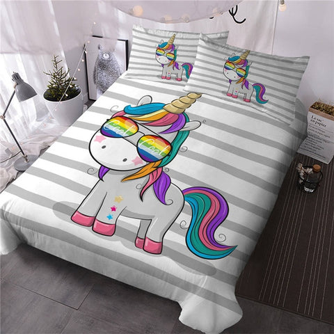 Multi Color Unicorn Quilt Cover Single Set - Unicornia