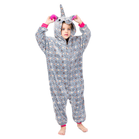 Warm Grey Kids Unicorn Onesie - Unicornia