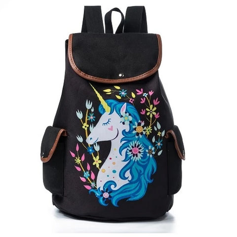 Black Vintage Flowers Unicorn Backpack - Unicornia
