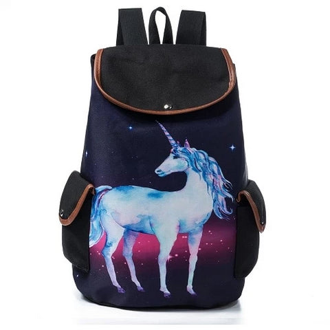 Black Vintage Space Unicorn Backpack - Unicornia