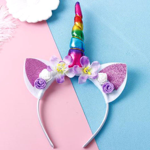 Rainbow Unicorn Flower Headband With Glitter Ears - Unicornia