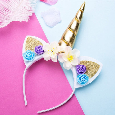 Gold Unicorn Flower Headband With Glitter Ears - Unicornia