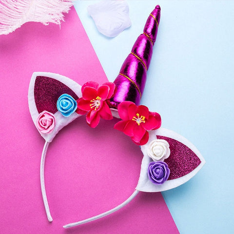 Purple Rose Unicorn Flower Headband With Glitter Ears - Unicornia