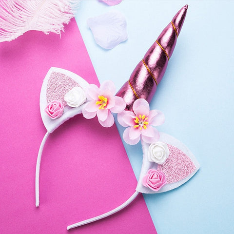 Pink Unicorn Flower Headband with Glitter Ears - Unicornia