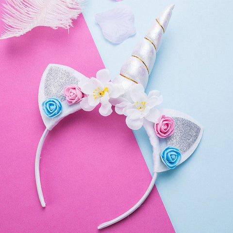Snow Unicorn Flower Headband With Glitter Ears - Unicornia