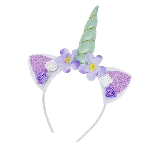 Crystal Unicorn Flower Headband With Glitter Ears - Unicornia