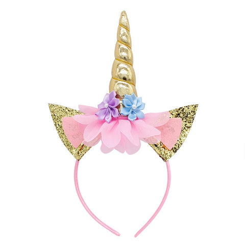 Shiny Gold Unicorn Flower Headband With Glitter Ears - Unicornia
