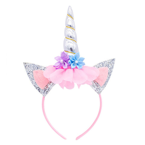 Silver Unicorn Flower Headband With Glitter Ears - Unicornia