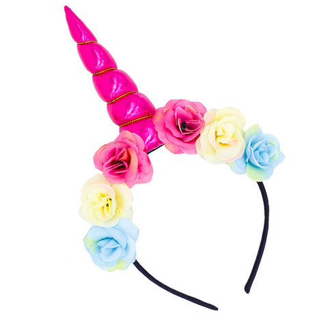 Dark Pink Floral Unicorn Horn Headband - Unicornia