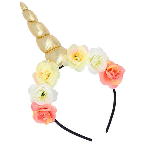 Gold Floral Unicorn Horn Headband - Unicornia