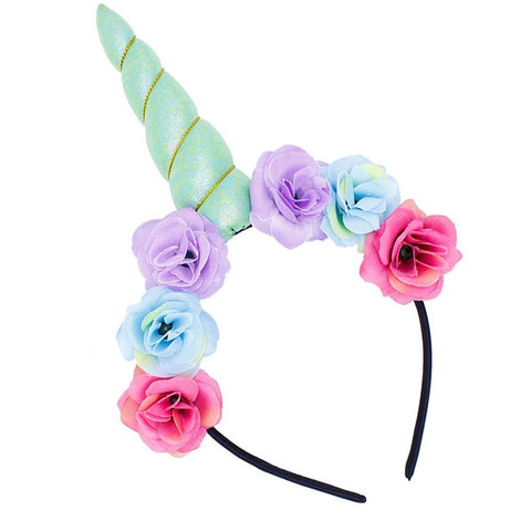 Blue Floral Unicorn Horn Headband - Unicornia