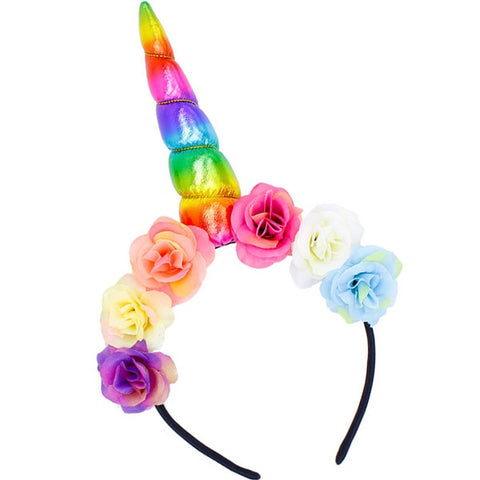 Rainbow Floral Unicorn Horn Headband - Unicornia