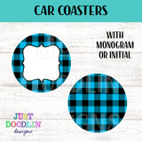 Plaid Monogram Car Coaster set