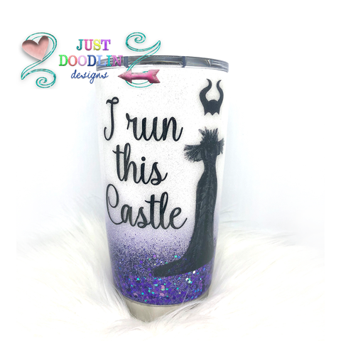 I Run This Castle Glitter Tumbler | Maleficent Inspired Gift