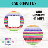 Serape Monogram Car Coaster set