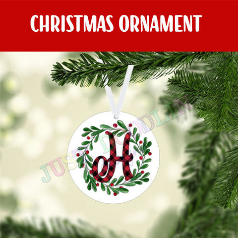 Personalized Initial Wreath Ornament