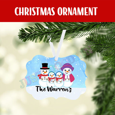 Personalized Snowman Family Christmas Ornament