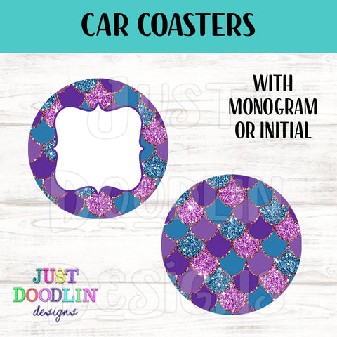 Mermaid Monogram Car Coaster set