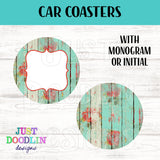 Floral Wood Monogram Car Coaster set