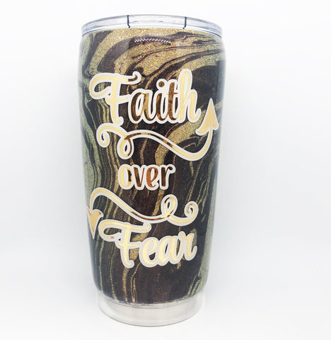 Gold and Purple Marble Dipped Tumbler