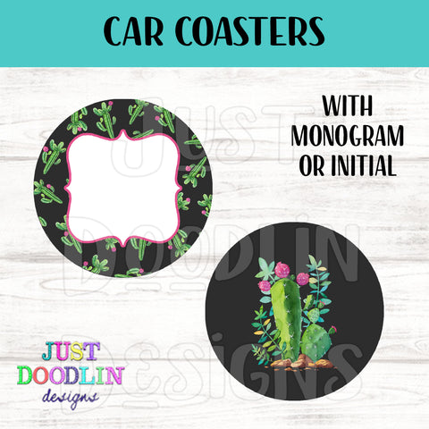 Cactus Monogram Car Coaster set