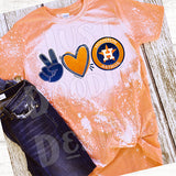 Peace Love & Astros bleached T-shirt