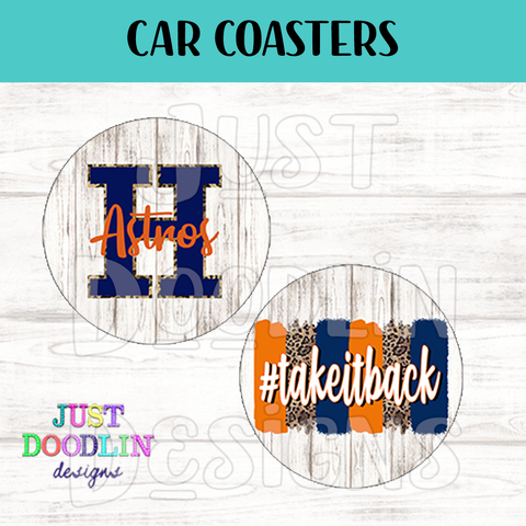 Houston Astros Inspired Car Coasters