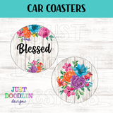 Floral Blessed Car Coaster set