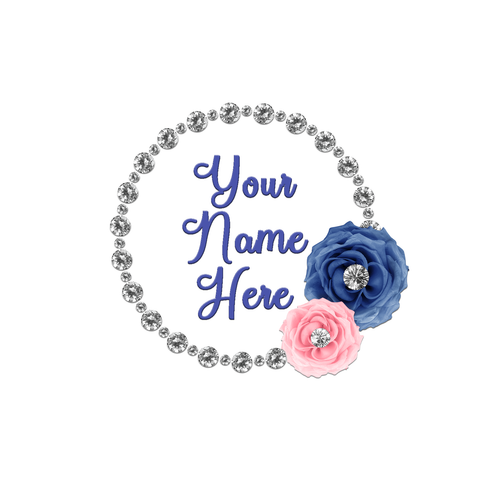 Blue and Pink Flowers with Diamond Frame