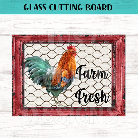 Glass Cutting Board - Farm Fresh Rooster