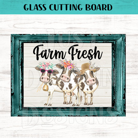 Glass Cutting Board - Farm Fresh Heifer