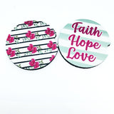 Faith Hope and Love Car Coaster set
