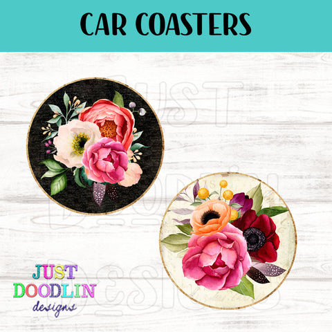 Vintage Floral Car Coaster set