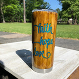 Faith Hope and Love Wood Grain and Glitter Tumbler