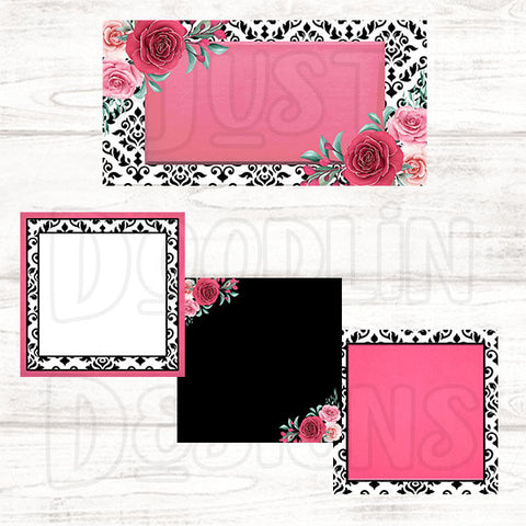 Pink & Black Damask Social Media Graphic Package