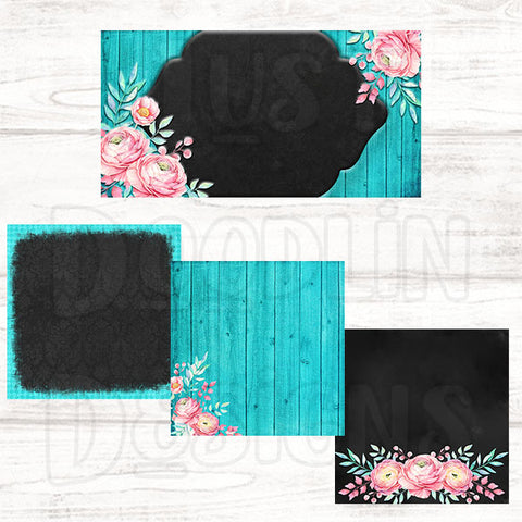 Pink Floral with Teal Wood Social Media Graphic Package