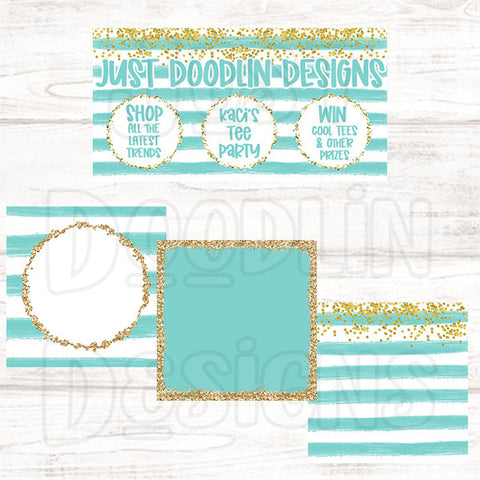 Mint Stripes Social Media Graphic Package