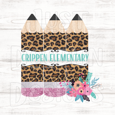 Teacher Triple Leopard Print Pencil PNG file
