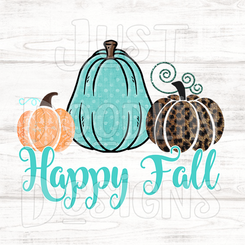 Fall Design | Happy Fall With Three Pumpkins