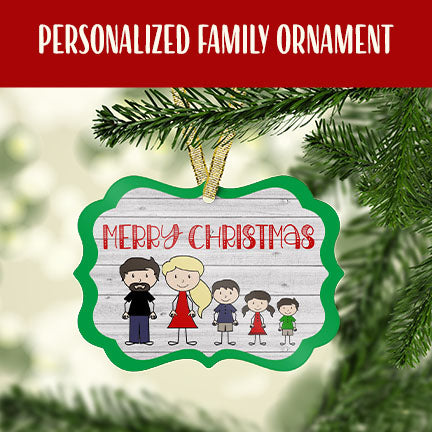Personalized Stick Figure Family Christmas Ornament