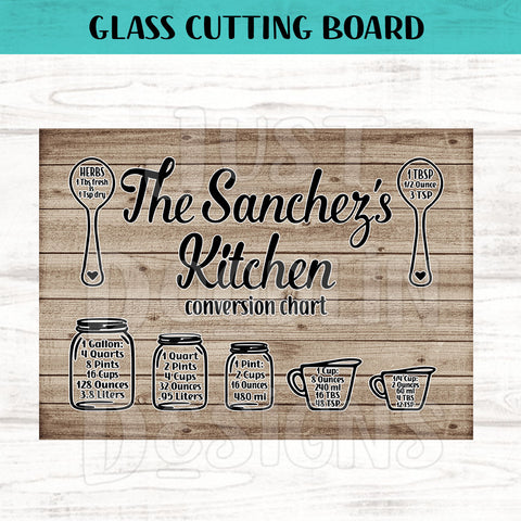 Glass Cutting Board - Personalized Kitchen Conversion Chart