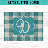 Glass Cutting Board - Teal Plaid Monogram