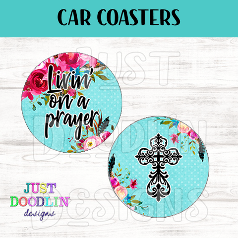 Living On A Prayer Floral Car Coaster set