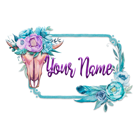 Boho Skull and Flower Logo