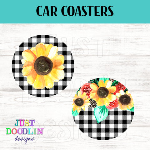 Sunflower Car Coaster set