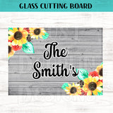 Glass Cutting Board - Personalized Sunflower