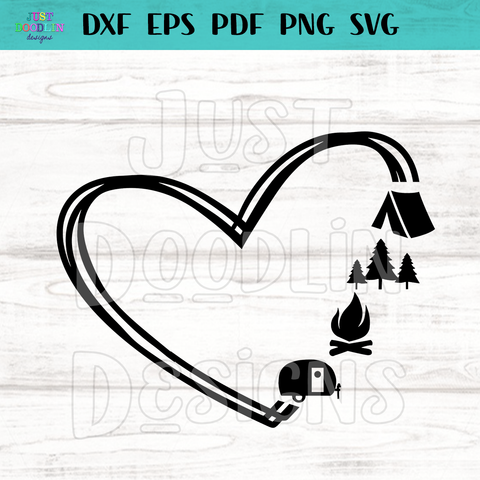 Heart Camping Love SVG file