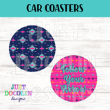 Tribal Navy & Pink Car Coaster set