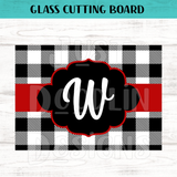 Glass Cutting Board - Buffalo Plaid Monogram
