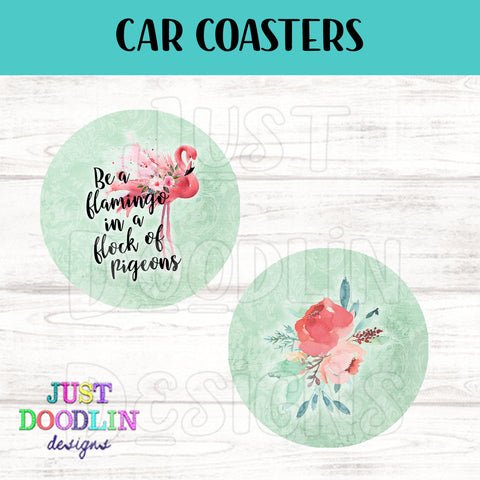 Be A Flamingo Car Coaster set